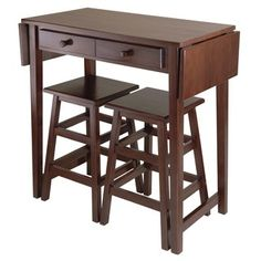 Mercer Double Drop Leaf Table w/ 2 Stools - Winsome Wood Mercer Double Drop Leaf is a perfect breakfast or island table for your kitchen or media room. Table features a double drop leaf extension for extra table surface, two drawers for storage Pc Table, Table Bar, Dining Table, Table Stools, Counter Stools, Wood Table, Dining Booth, Walnut Table, Drop Leaf Kitchen Island