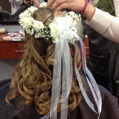 First communion hair, fresh flowers in the hair