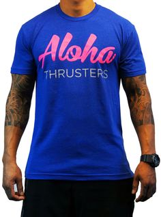 Project X CrossFit Men's 'Aloha Thrusters' Tee - Fluorescent Pink on Blue