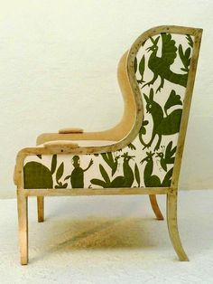 5 Favorites: Otomi Textiles as Upholstery : Remodelista. From Casamidy, the Ixelles Wing Chair upholstered in a green Otomi fabric. Modern Upholstery Fabric, Wing Chair, Take A Seat, Upholstered Chairs, Wingback Chair, Decoration, Accent Chairs, Furniture Design, Duvet