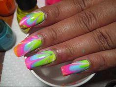 Poolside Neon Rainbow (#2) Water Marble Nail Art Tutorial - YouTube