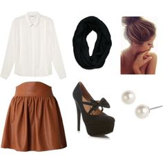"""Tan Skirt Outfit"" by alecstasy on Polyvore @Mariana Quezada -- i wanna make this outfit with my tan skirt"