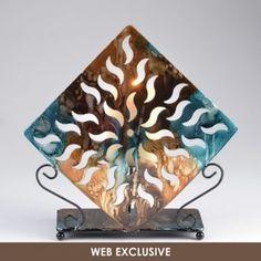 Metal Blue Brown Foil Candle Holder