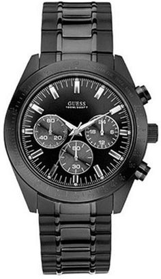 Guess U15055G1 black chronograph dial stainless steel bracelet men watch NEW ** Click on the image for additional details.