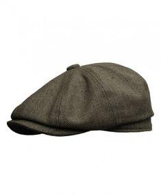 874b3535bea Rooster Herringbone Wool Tweed newsboy Gatsby IVY Cap Golf Cabbie Driving  Hat - Dark Brown - CL1207TX65L