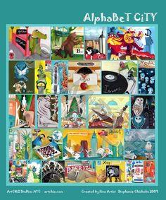 Alphabet Animal Art  5 X 5 Matted Art Print  B for Bear by ArtChiz, $20.00