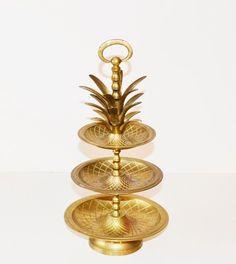 Vintage Brass Pineapple Tray Hollywood Regency by JudysJunktion, $180.00