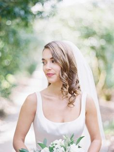 Wedding hairstyle idea for medium-length hair - curls with classic veil {Beautiful Bride Events}