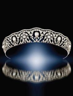 An Edwardian natural pearl and diamond openwork tiara. Source: Humphrey Butler 2013-14 catalogue.