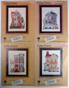 Lot of 4 Charles Ross Designs Counted Cross Stitch Patterns Victorian Houses #NewDawnDesigns