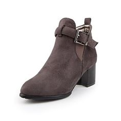 AalarDom Women's Imitated Suede Ankle High Solid Buckle Kitten Heels Boots >>> Check out this great product. Shoes Boots Ankle, Ankle Booties, Korean Shoes, Kitten Heel Boots, Shoe Image, Ankle Highs, Women's Pumps, Toe, Gray