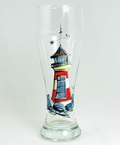 Verre à bière (510 ml) : : Phare   *** Produit peint à la main. Painted Porcelain, Hurricane Glass, Diy Painting, Decoration, Tableware, How To Make, Porcelain Ceramics, Beer Glassware, Wine Glass