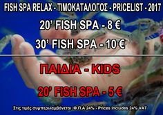 Fish Spa Relax - Pricelist 2017 Spa, Relax, Fish, Pisces