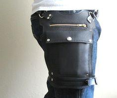 Black Road Warrior Bag Travel Bag. Unisex leather hip bag.