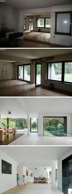 Before & After - The living areas were separated and didn't take advantage of beautiful backyard views, now the interiors have been opened up and are bright white, making the space feel modern and allowing you to focus on the plants outside.