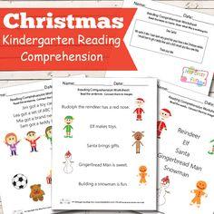 Kindergarten Reading Comprehension Worksheets - Christmas