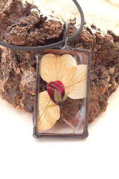 Hydrangea and red flower. Terrarium pendant. by AcoyaJewellery