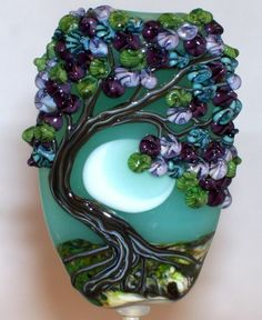 WSTGA ~FLORAL MOONLIGHT~TREE  handmade lampwork focal glass bead SRA #Lampwork By Molly Cooley