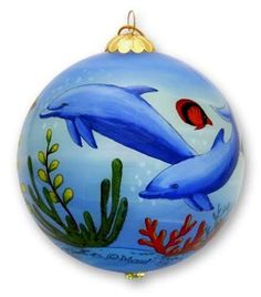Buns Of Maui - Hawaii Painted Glass Christmas Ornament Dolphins at Play, $19.99 (http://www.bunsofmaui.net/hawaii-painted-glass-christmas-ornament-dolphins-at-play/)