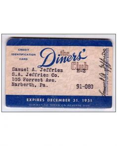Diners Club Card, 1951 - the first credit card. 1950s Culture, Creative Destruction, Music Courses, Improve Yourself, Make It Yourself, Practical Gifts, Popular Music, True Stories, American History