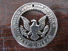Half Dollar Hand Cut Coin