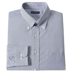 Men's Croft & Barrow® Fitted Checked Dress Shirt, Size: 1
