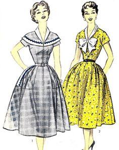 1950s Dress Pattern Advance 7712 Full Skirt Kimono Sleeve Day Evening Dress Tie Collar Cape Collar Womens Vintage Sewing Pattern Bust 34