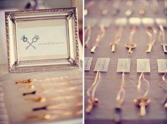 Key escort card idea! http://www.prettymyparty.com/dreamy-destination-wedding/