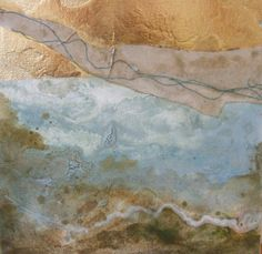 mixed media gilded  collaged abstracted seascape by emmabellart, £60.00