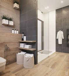 light colored wood effect tiles on the floor and wall plus matching shelves