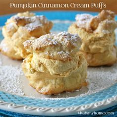 Pumpkin Cinnamon Cream Puffs - Cream puffs filled with a pumpkin cinnamon spice filling with a hint of maple. The filling is so light it melts in your mouth.