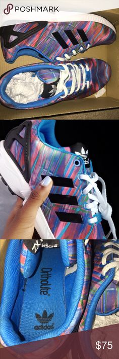 adidas zx flux j these adidas are very vibrant and they can go with almost all colors. they're very versatile and comfortable. plus they're in great condition. i have only worn them 2 times, as you can see from the bottom of the shoe. they're a size 5 in kids, aka a size 7 in women's. adidas Shoes Athletic Shoes