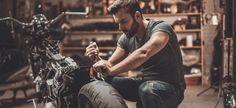 Image stock photo this bike will be perfect confident young man repairing motorcycle in repair shop 499233 in Rakesh Kumar Sharma's images album Motorcycle Mechanic, Mechanic Garage, Scrambler Motorcycle, Motorcycle Parts, Motorcycle Garage, Repair Shop, Stock Foto, Motorbikes, Harley Davidson