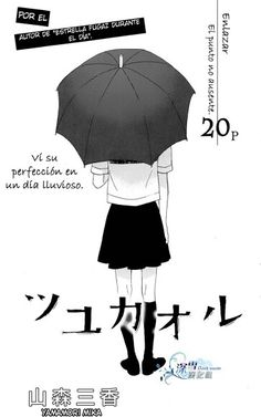 A love story in moist rainy days - a one-shot manga by Yamamori Mika.   The text on the left translates  to I saw her perfection on a rainy day.