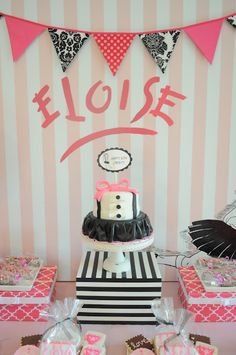 40 Popular children's book birthday parties - Eloise at the Plaza Birthday Party Book Birthday Parties, Girl Birthday, Birthday Ideas, Themed Parties, Princess Birthday, Bear Birthday, Frozen Birthday, Birthday Cakes, Happy Birthday
