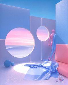 Futuristic Interior, Retro Futuristic, Futuristic Architecture, Aesthetic Space, Blue Aesthetic, Ästhetisches Design, 3d Fantasy, Scenery Wallpaper, Cool Rooms