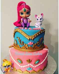 Fiesta Shimmer and shine cake Little Girl Birthday, Birthday Cake Girls, Baby Birthday, Birthday Gifts, Aladdin Birthday Party, 4th Birthday Parties, Birthday Ideas, Shimmer And Shine Cake, Bubble Guppies Birthday
