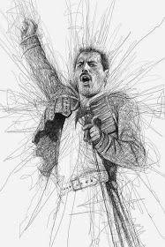 Por el Amor del Art-E: El arte del garabato Freddie Mercury, Reine Art, Vince Low, Pencil Drawings, Art Drawings, Art Du Monde, Rock Poster, Scribble Art, Queen Art
