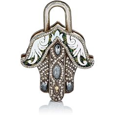 Sevan Biçakçi Hamsa Padlock Charm ($16,568) ❤ liked on Polyvore featuring jewelry, pendants, colorless, 24 karat gold jewelry, clear jewelry, yellow jewelry, handcrafted jewelry and engravable charms