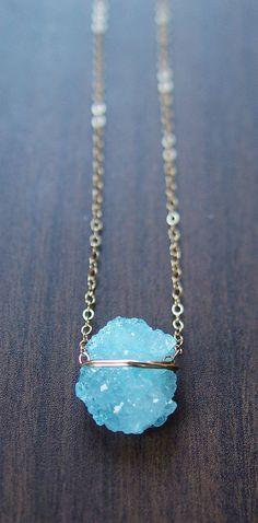 Aqua Chrystal Necklace Gold OOAK by friedasophie on Etsy