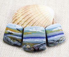 Handmade Polymer Clay Statement Focal 3 Bead Set -Panorama Graduated Beads-Seascape-Morning Sunrise-Beach Themed-Light Blue-PA 86719 by StudioStJames on Etsy