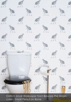 Ostrich Small Wallpaper from Beware the Moon - Patternsnap blog 'Queen Kate's House Tour' involving patternsnap's fake peek into Kate Moss's home.