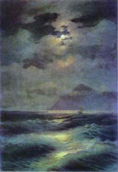 Famous Romanticism Art mist | View of the Sea by Moonlight. 1878. Oil on canvas. The Russian Museum ...