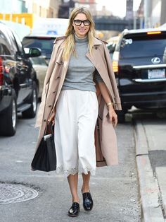 jessica hart grey turtleneck white culotte street style