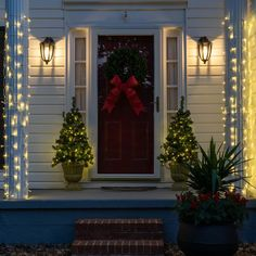 These stretchable LED net lights can be installed on almost any porch column in just minutes! Column Lights, Net Lights, White Wire Christmas Lights, Column Wrap, Porch Columns, Christmas Porch, Christmas Ideas, White Lead, Porch Decorating
