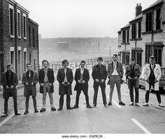 Teddy Boys in a Sheffield Street - Stock Image Teddy Boys, Teddy Girl, Sheffield Home, Sheffield England, Teddy Boy Style, Bolton England, Rockabilly Music, Street Stock, Nostalgic Images