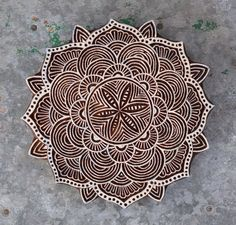 Flower mandala stamp finely carved traditional Indian Henna wood block for print, trivet, coaster, crystal grid etc by Faerymother on Etsy https://www.etsy.com/listing/220891489/flower-mandala-stamp-finely-carved