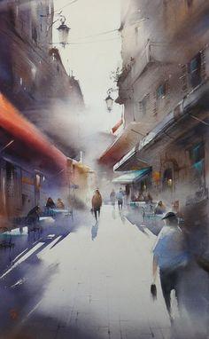 Ilya Ibryaev     - Street in Cannes - watercolor - 53х35 cm