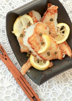 Simple & Quick - Crispy Cod with Lemon, Butter & White Wine Sauce - Low Calorie, Low Fat, Healthy Dinner
