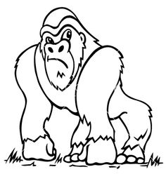 Gorilla Template Drawing (supercoloring.com, 2015